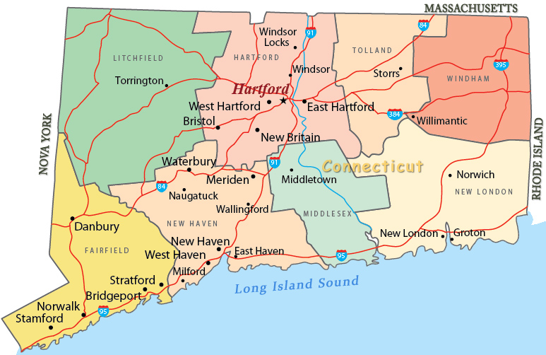 Mapa Geográfico de Connecticut
