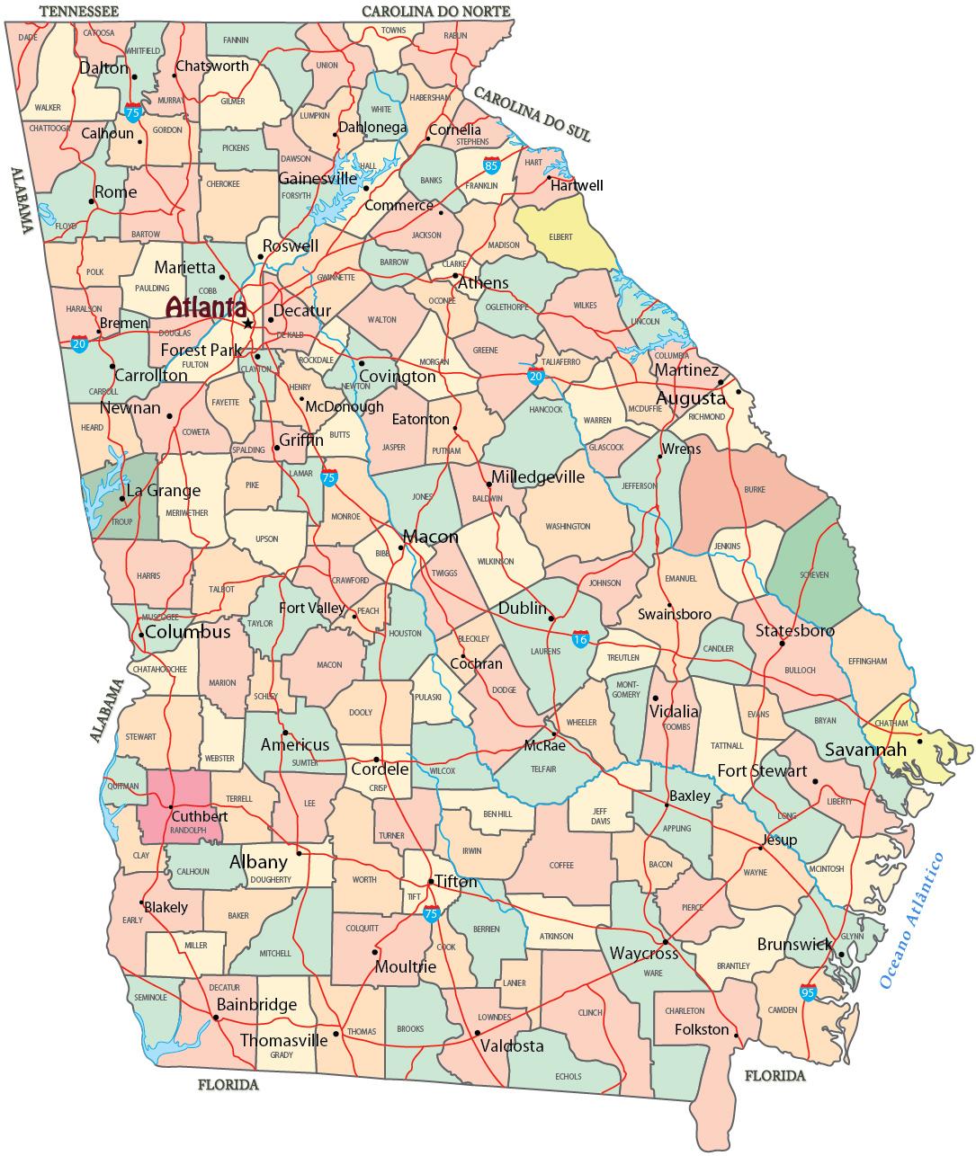 Mapa Político De Georgia Estados Unidos - Mapa de georgia
