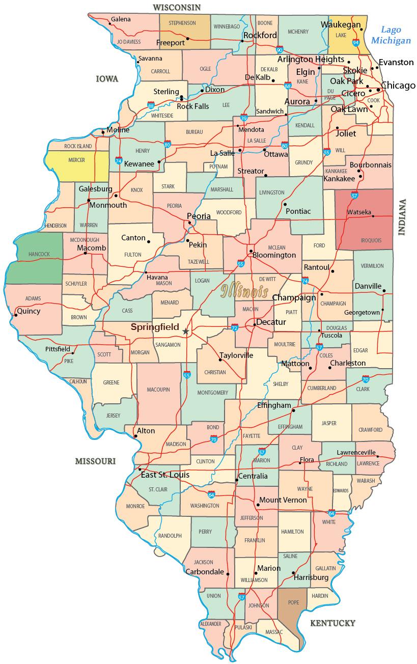 Mapa Político De Illinois - Mapa de illinois