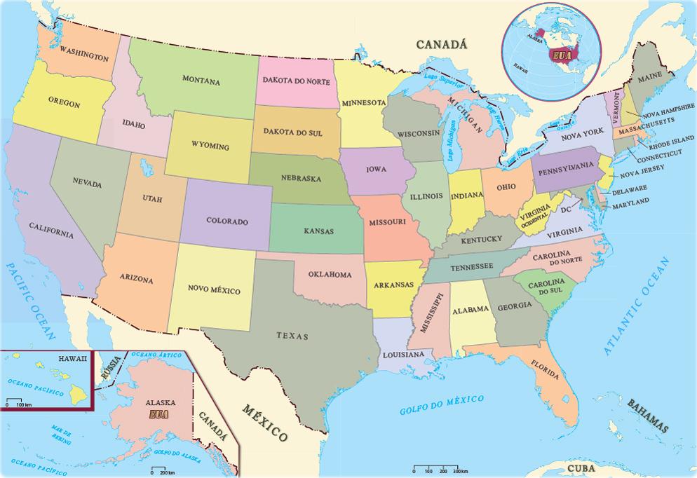 Mapas Dos Estados Unidos Da America