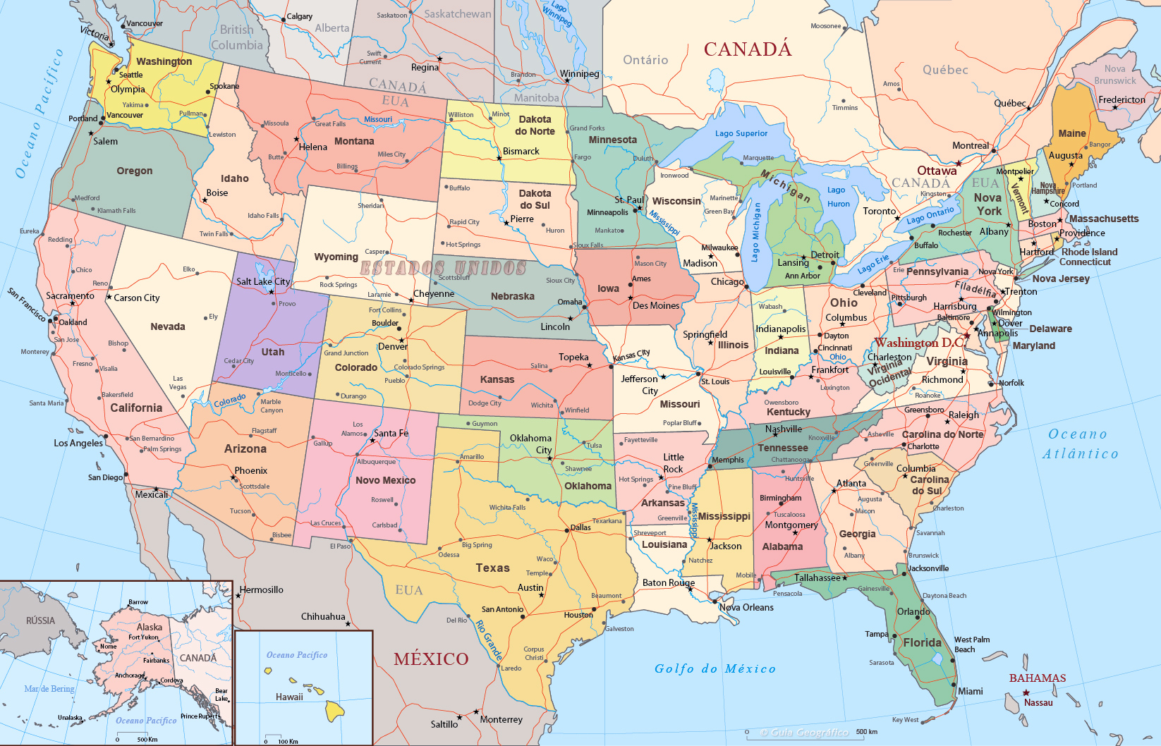 Mapa Politico Dos Estados Unidos