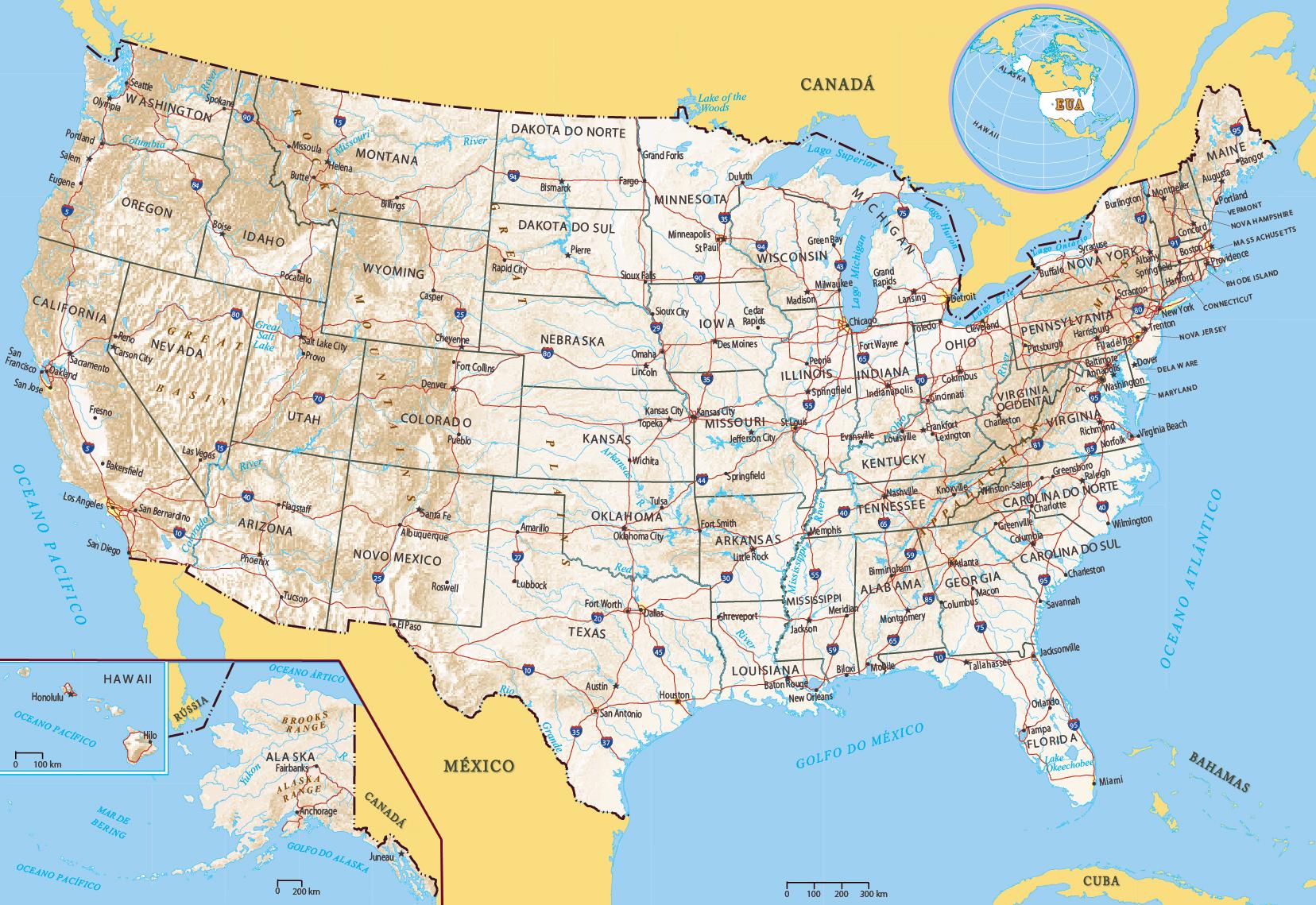 Mapa Fisico Dos Eua