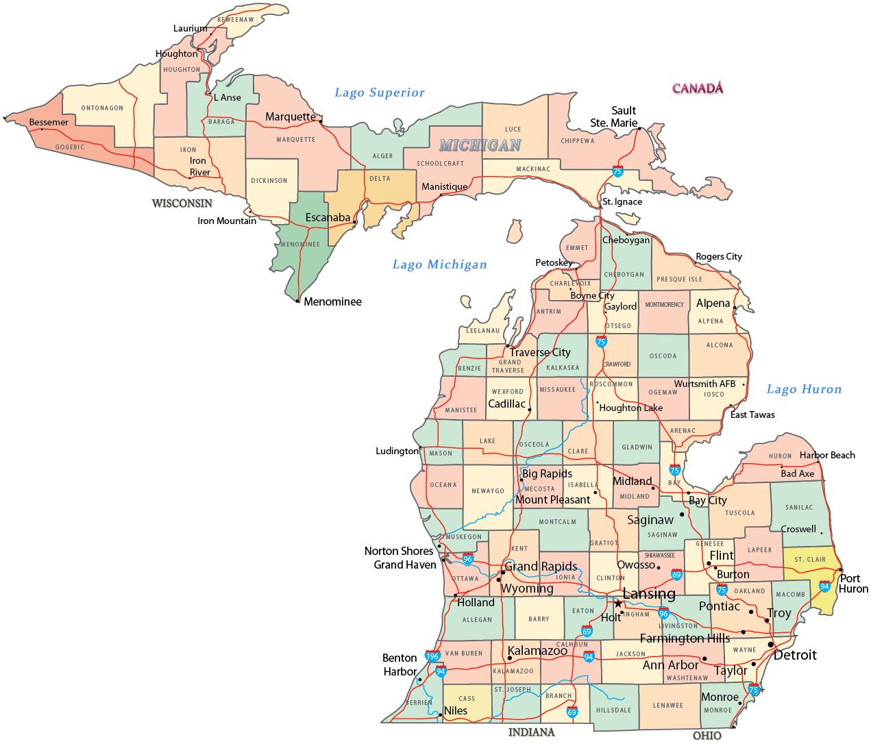 mapa politico de michigan estados unidos