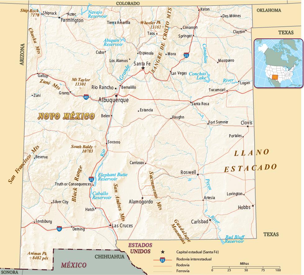 Mapa Politico Do Novo Mexico