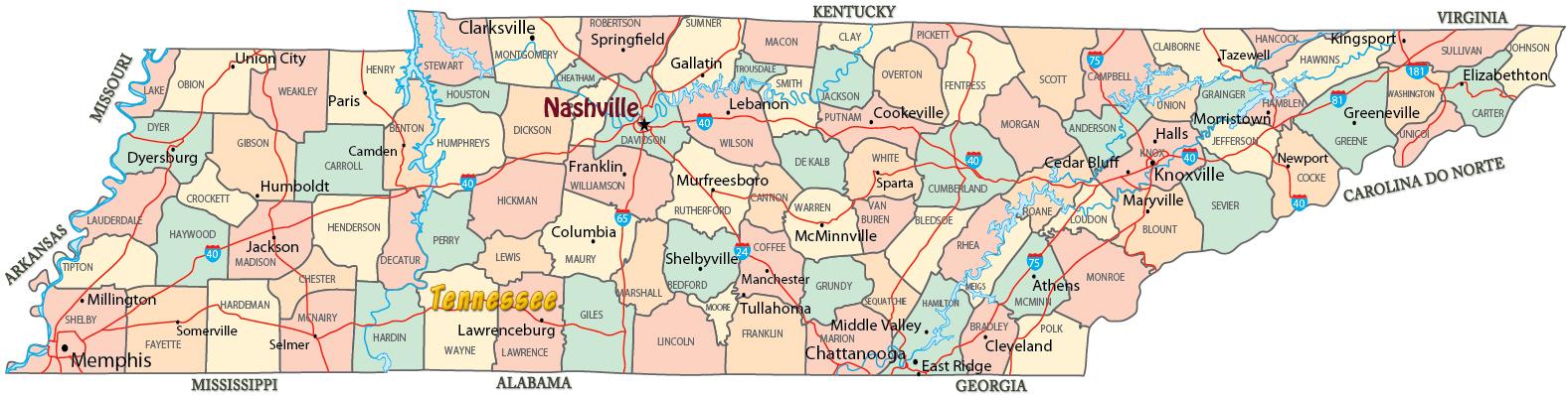 Mapa Político de Tennessee